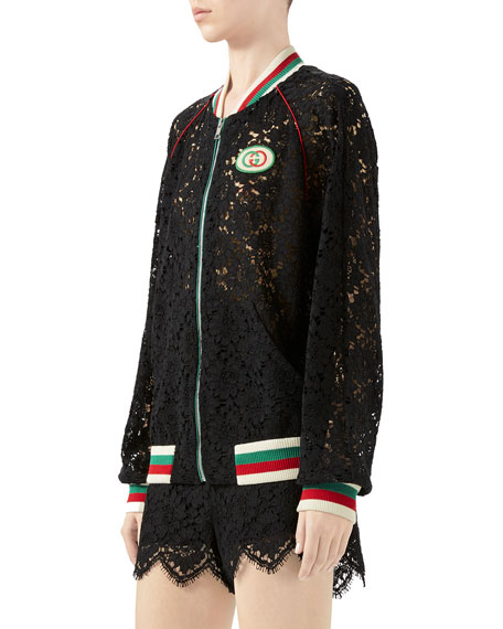 Flower Lace Bomber Jacket
