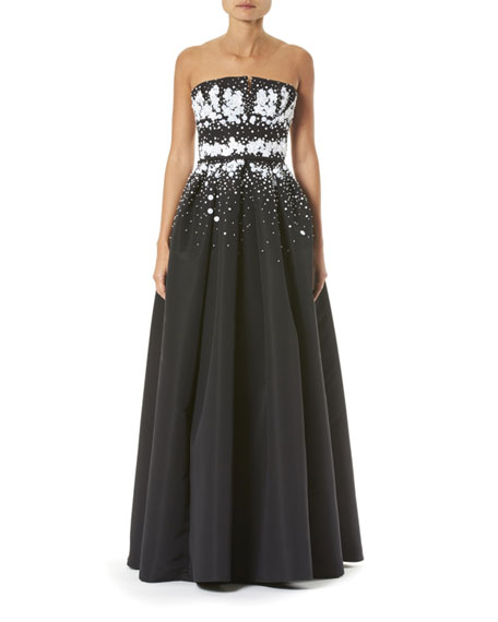 Strapless Embroidered Gown