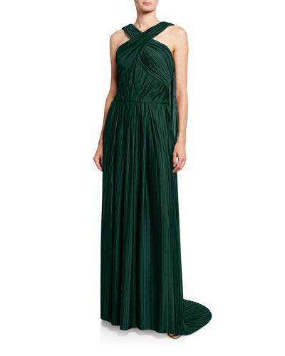 Satin Crossover Halter-Neck Gown