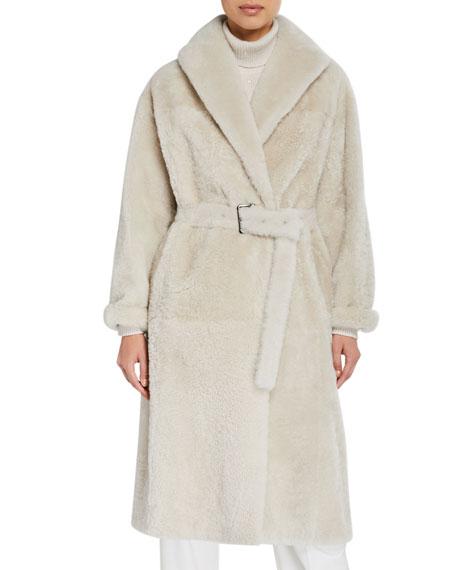 Shearling Cashmere-Trim Coat