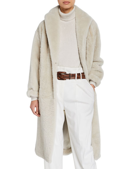 Image 1 of 1: Shearling Cashmere-Trim Coat