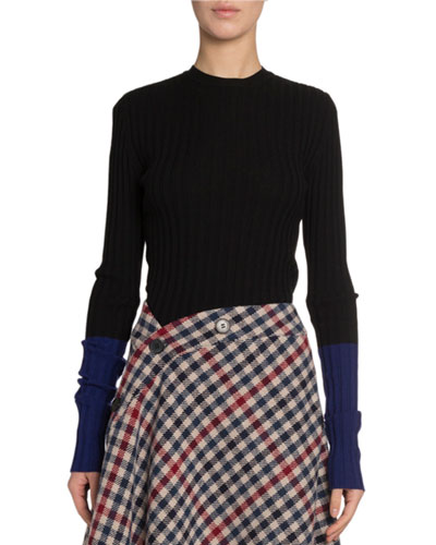 Extrafine Ribbed-Wool Contrast-Cuff Sweater
