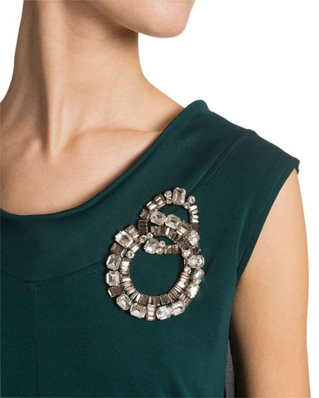 Crystal-Brooch Draped Jersey Top