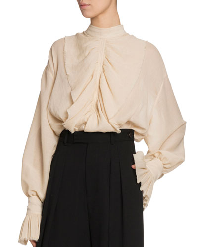 Frilled Cotton Funnel-Neck Peasant Blouse