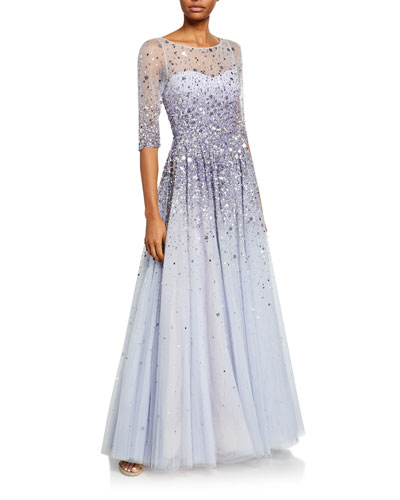 3/4-Sleeve Jeweled Tulle Illusion Gown