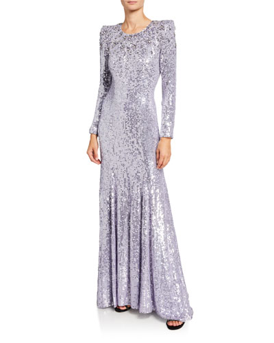 Long-Sleeve Sequined Column Gown