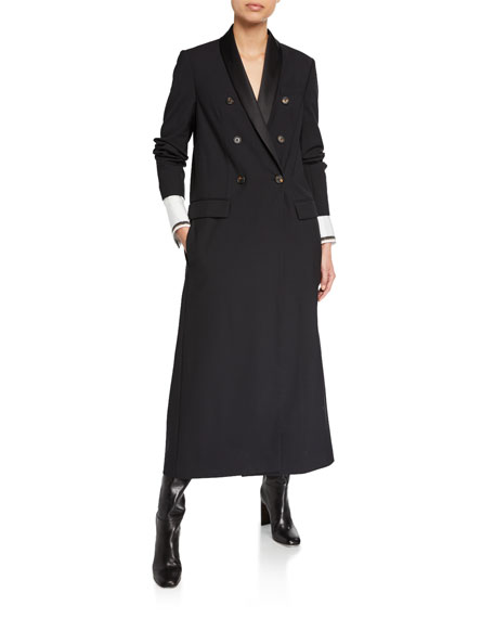 Satin-Lapel Double-Breasted Long Coat