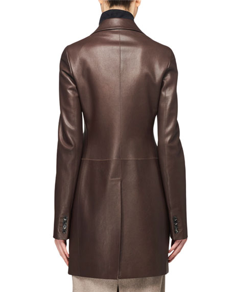 Nedifa 3-Button Leather Coat