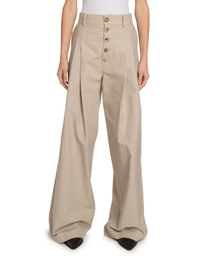 Baggy Gabardine Button-Front Trousers