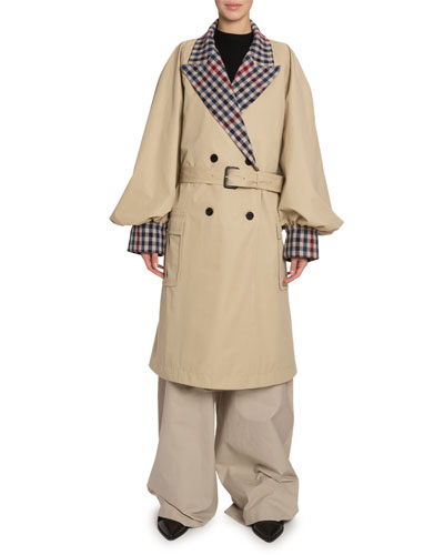 Checked-Trim Oversized Trench Coat