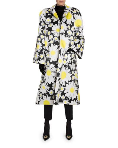 Satin Daisy-Print Trench Coat