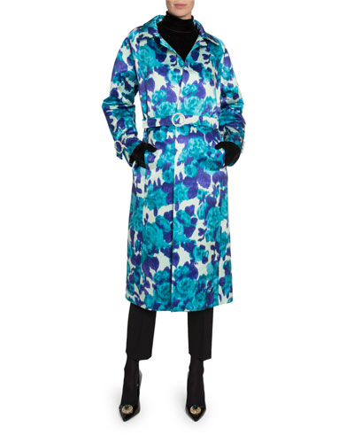 Floral-Print Jeweled Satin Trench Coat