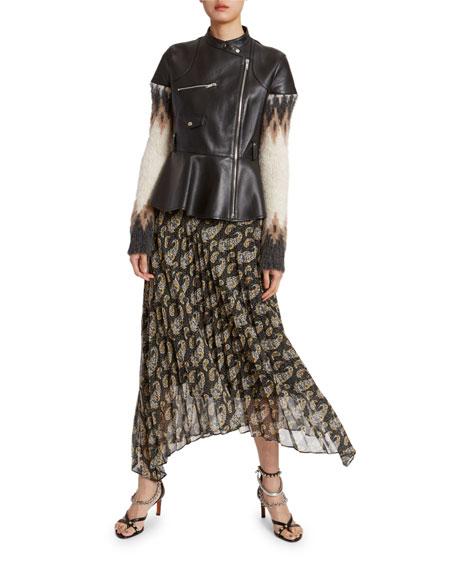 Sweater-Sleeve Leather Peplum-Waist Moto Jacket