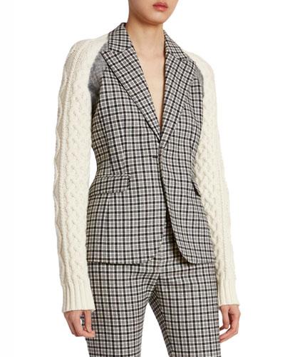 Plaid Wool Sweater-Sleeve Blazer