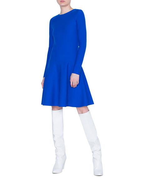 Long-Sleeve A-Line Wool Dress