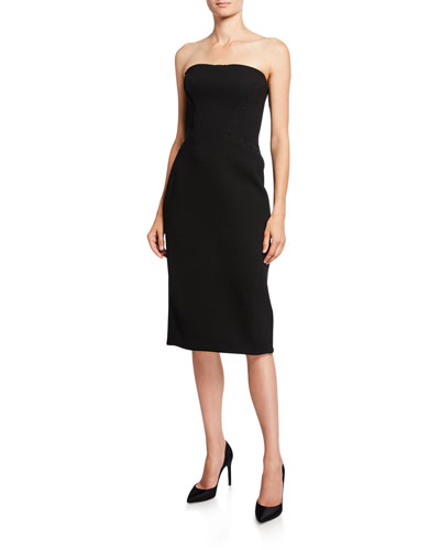 Strapless Crepe Cocktail Dress with Stitching