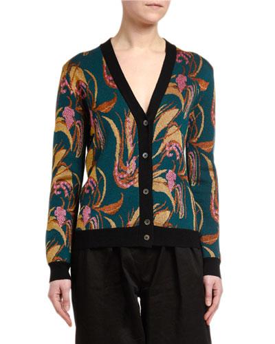 Floral Intarsia Wool-Silk Cardigan