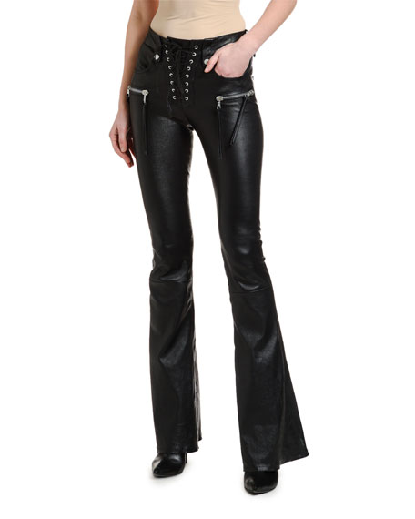 Leather Lace-Up Cropped Flare Pants