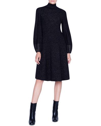 Shimmered Wool-Crepe Blouson Sleeve Dress
