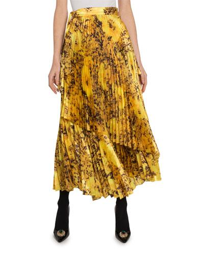 Pleated Wrap Print Skirt