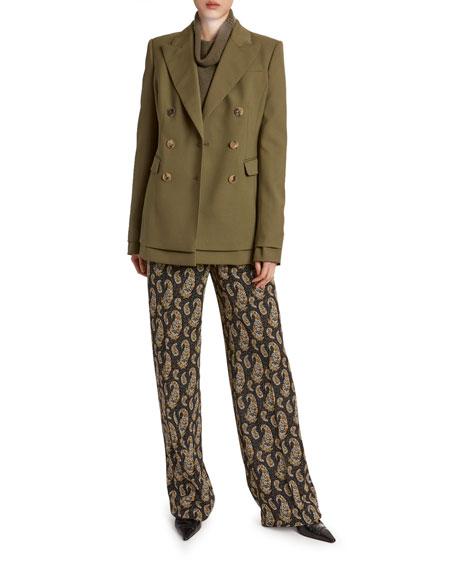 Stretch-Wool Double-Collar Blazer