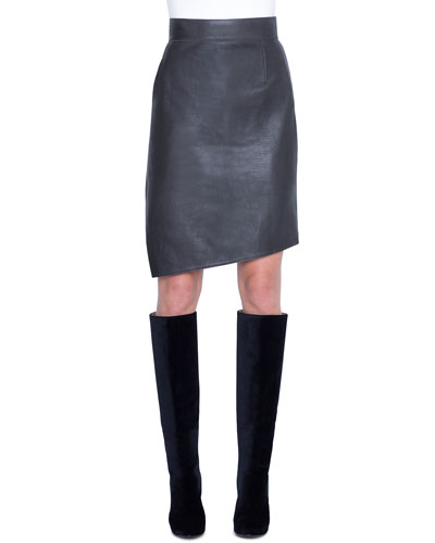 Asymmetric Napa Leather Pencil Skirt