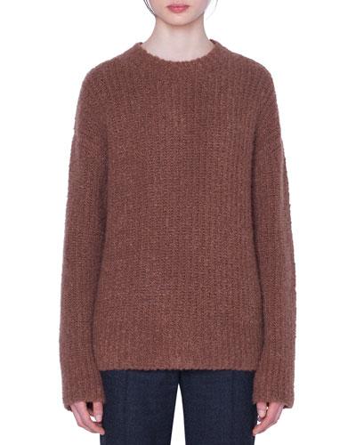 Vicuna Boucle Crewneck Sweater