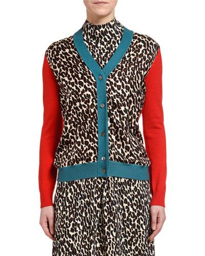 Gemini Leopard-Printed Silk-Front Cardigan