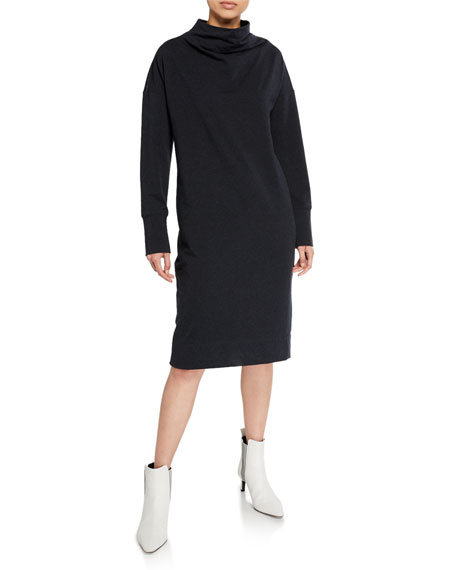 Image 1 of 1: Mock-Neck Stretch Cotton Shift Dress