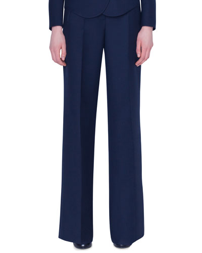 Flore Wide-Leg Double-Face Wool Pants