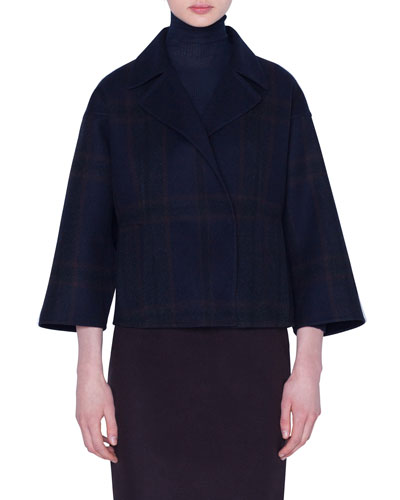 Cashmere Snap-Front Short Jacket
