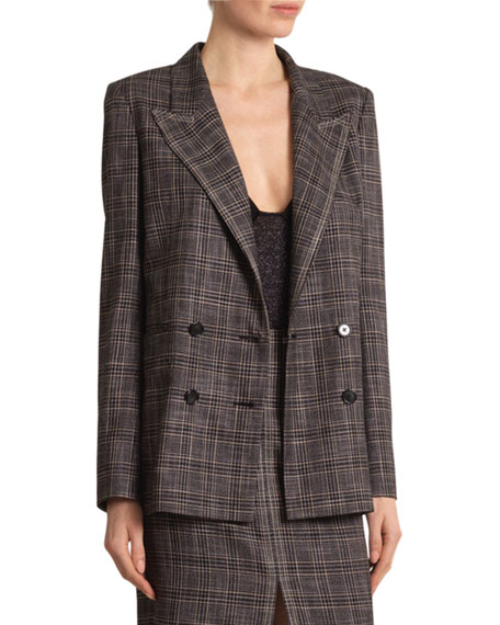 Plaid Double-Breasted Open-Back Jacket