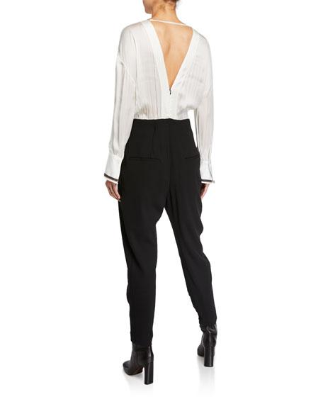 Monili-Cuffed Long-Sleeve Jumpsuit