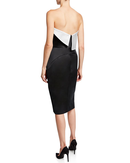 Strapless Colorblock Fold-Over Cocktail Dress