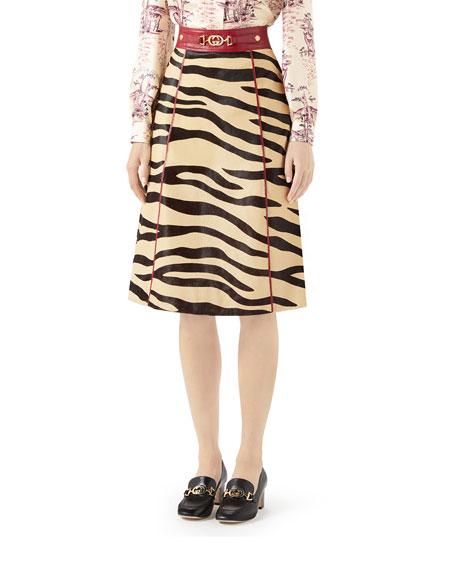 Tiger Print Leather Midi Skirt