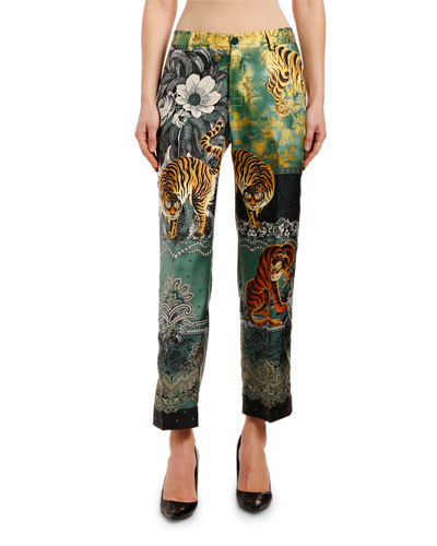 High-Rise Tiger & Floral Print Pants