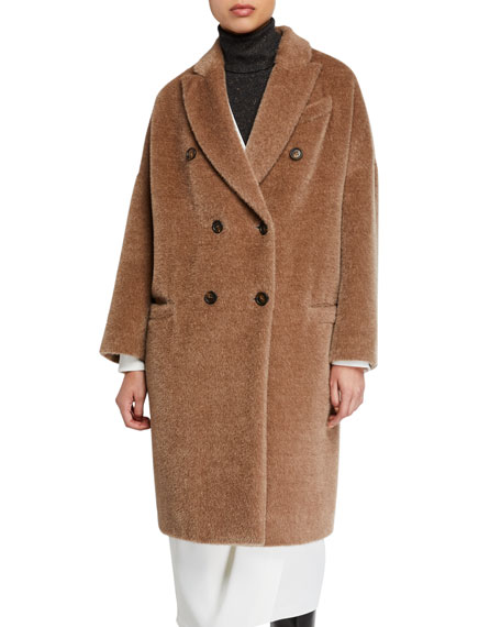 Alpaca-Wool Double-Breasted Melton Coat