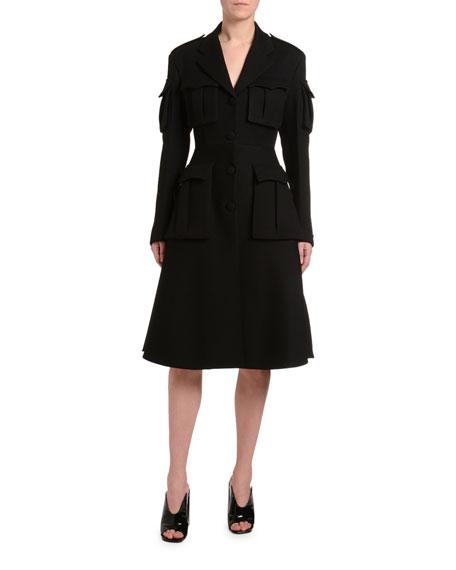 Gabardine Utility Pocket Wool Coat