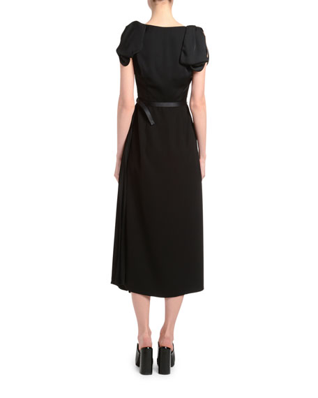 Fluid Twill Bow-Shoulder Midi Dress