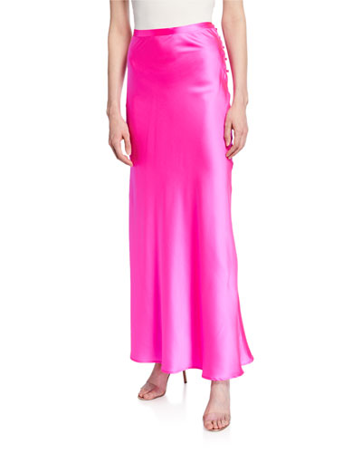 Florence Silk Satin Bias-Cut Ankle-Length Skirt  Pink