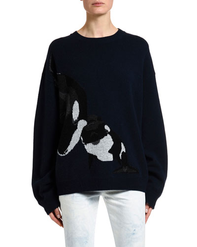 Killer Whale Intarsia Sweater