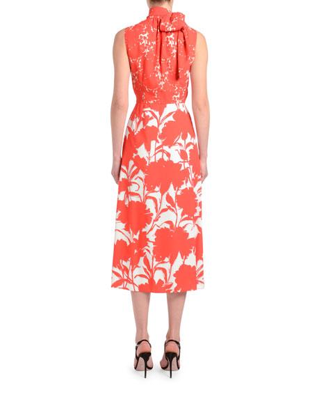 Twill Floral Shadow Sleeveless Dress