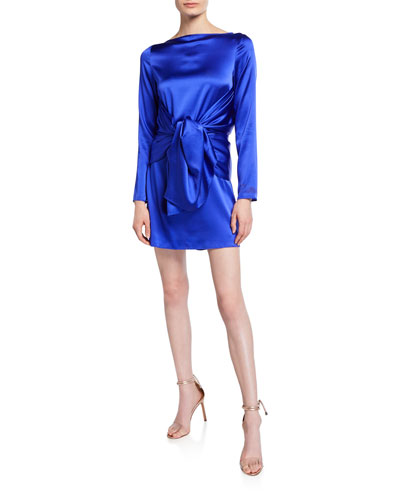 Judy Silk Knot-Front Mini Dress