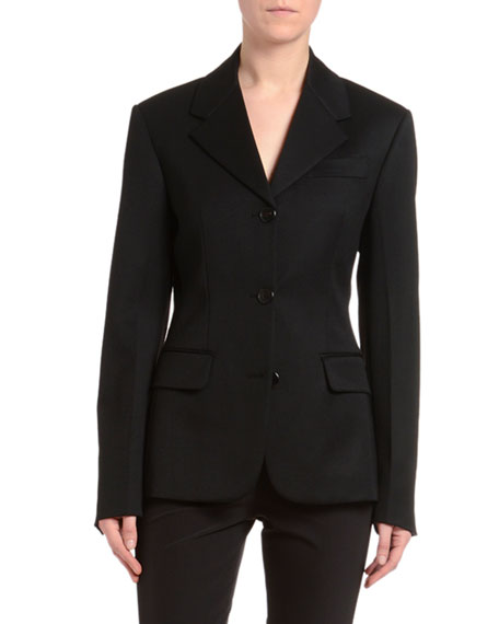 Image 1 of 1: Wool Satin Wide-Lapel Jacket