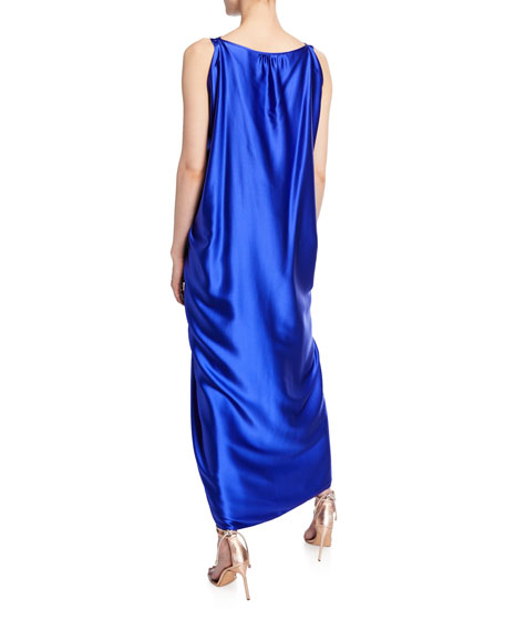 Judy Sleeveless Silk Knot-Front Maxi Dress
