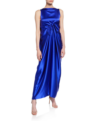 Judy Sleeveless Silk Knot-Front Maxi Dress