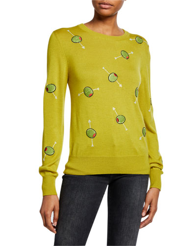 Cocktail Olives Crewneck Cashmere Sweater