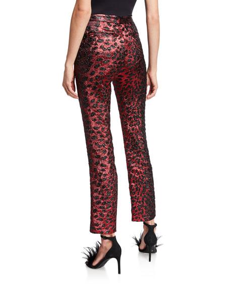 Metallic Cat Glittery Cheetah-Print Skinny-Leg Pants