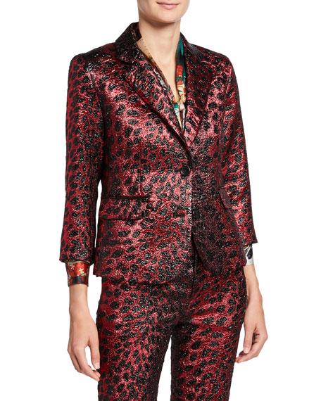 Metallic Cat Glittery Cheetah-Print Blazer