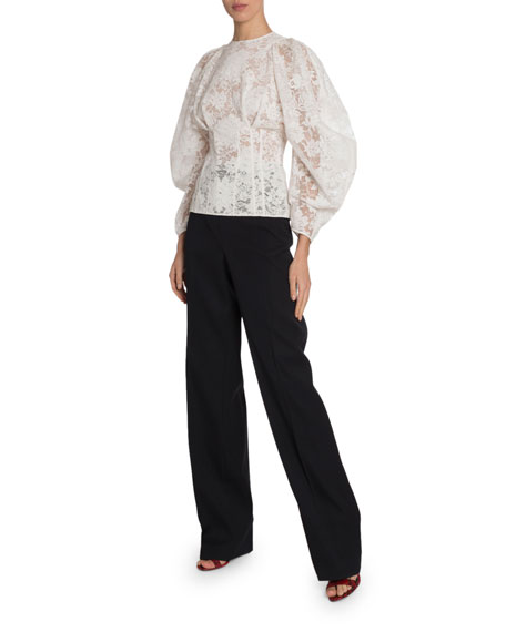 Lace Corseted Wide-Sleeve Top